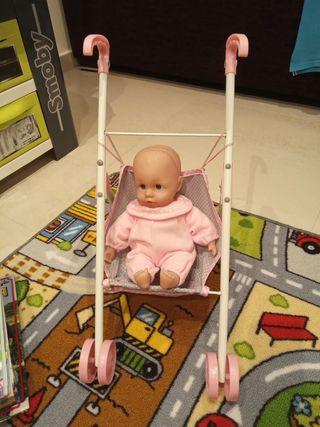 carrito silleta de juguete con bebé
