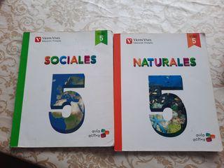libros Sociales y Naturales 5 de primaria