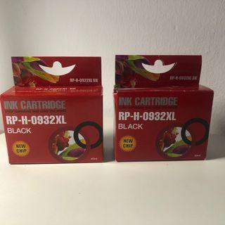 Dos cartuchos compatibles de tinta negra HP932