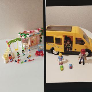 Lote playmobil guardería y autobús escolar