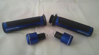 Puños y contrapesos para moto azules