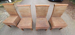 4 sillas de ratan / mimbre