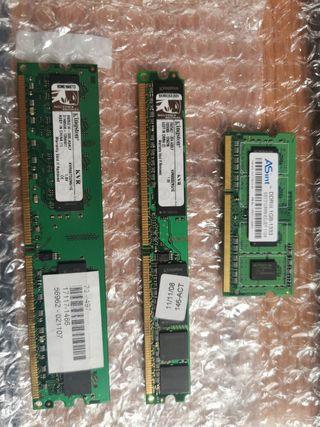 Memorias RAM PC2 y DDR3
