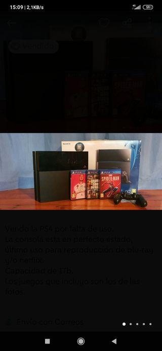 Ps4 1tb + mando + cables + 3 juegos + PS Plus