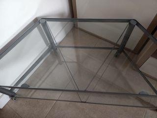 Mesa auxiliar 4 ruedas, efecto transparente visual