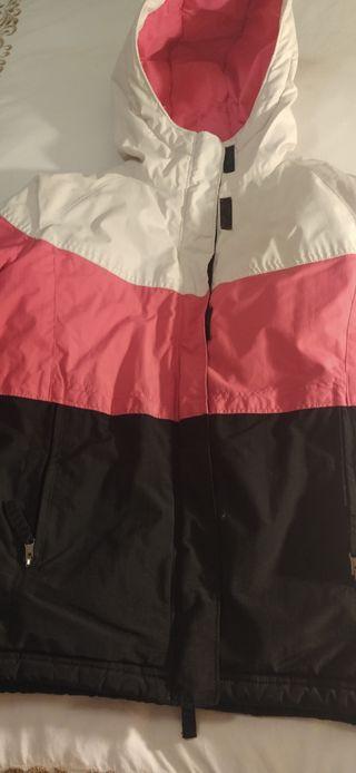 anorak Columbia blanco negro rosa talla 10-12