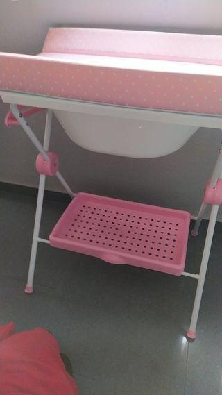 cambiadoe tijera rosa con bañera