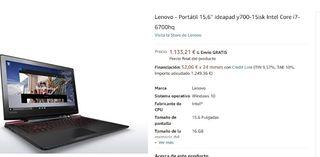 Ordenador Portatil Lenovo Y700 15ISK