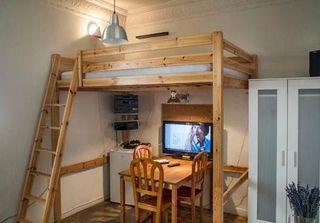 Cama alta madera matrimonio Ikea litera y colchón