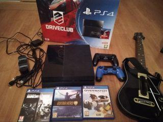 PS4+Juegos+mandos+cargador+guitarra