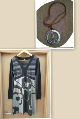 Vestido Hippie, collar, Cinta del pelo (estilo 70)