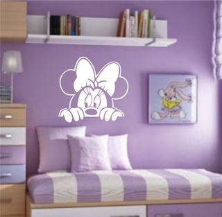 Pegatina de vinilo Minnie Mouse, color blanco