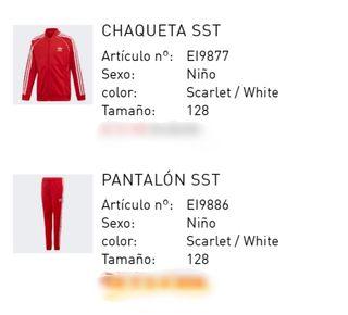 Chandal Adidas nuevo unisex rojo