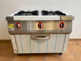 cocina de 2 fuegos con horno industrial
