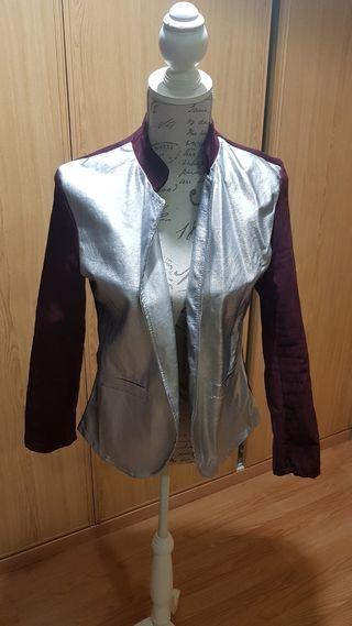 chaqueta plata antelina