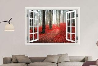 vinilo decorativo bosque otoño arboles