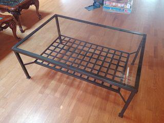 mesa centro mueble de cristal