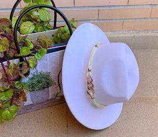 Sombrero tipo fieltro algodón cowboy boho blanco