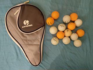 pelotas de tenis de mesa + bolsa de raqueta