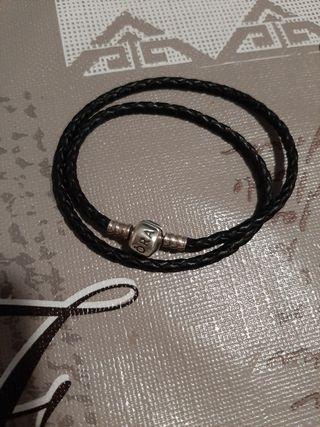 Pulsera Cuero doble Pandora color Negro