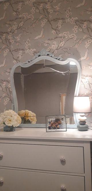 Espejo antiguo turquesa , chalkpaint DIY