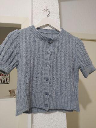 blusa de punto talle alto S azul