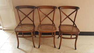 Juego 6 sillas de madera