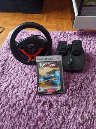 Juego F1 con Volante y pedales PS2
