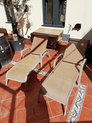 2 tumbonas para piscina / jardín / terraza