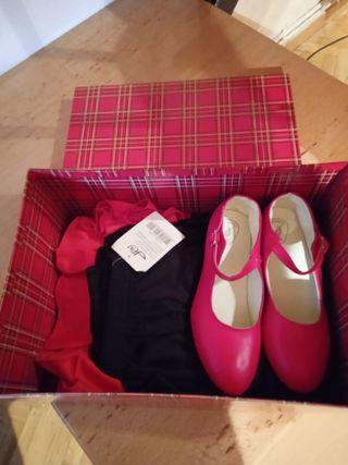 juego de falda de sevillana con sus zapatos