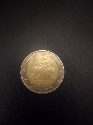 Moneda griega 2 euro con la S error sobremetal