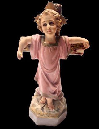 Antiguo Niño Jesús arte de Olot 1950