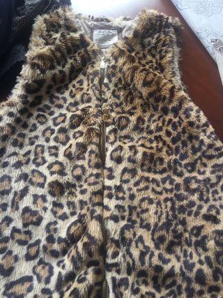 Chaleco piel sintética de leopardo