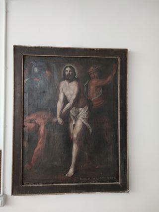 Pintura muy antigua de la flagelación de Cristo