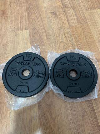 2 discos de 2kg para mancuernas y barras,NUEVOS