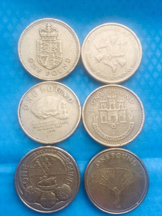 Old 1 pound coin set of 6 coins ... ### 1