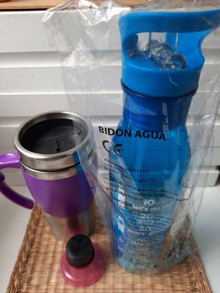 jarra termo + botella de plástico
