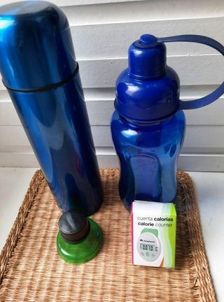 termo líquidos + botella plástico+cuenta calorias