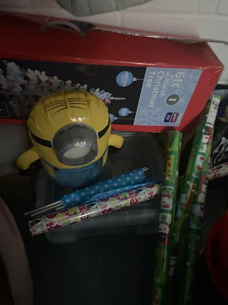 Toy in bag bat over thing minion in box tack all f