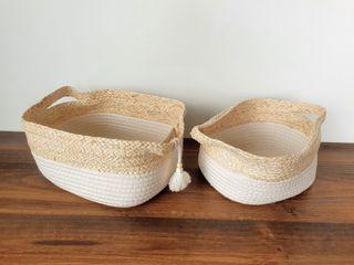 NUEVO - Set cestas algodón y fibra de maíz pompón