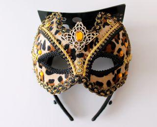 Máscara veneciana gato leopardo