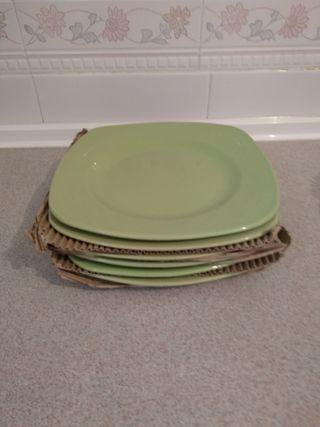 6 platos llanos verde manzana
