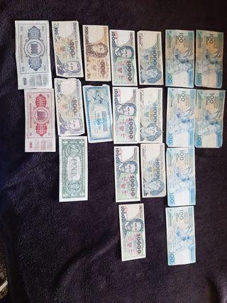 Billetes y monedas antiguas españolas y extranjera