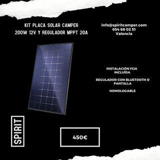 Kit placa solar camper 200W 12v Regulador MPPT 20A