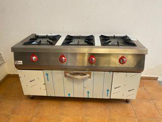 cocina de tres fuegos con horno industrial