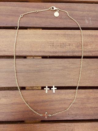 Pendientes y Collar de cruz Aristocrazy