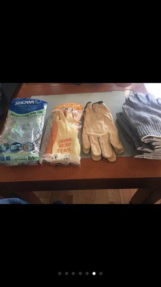 11 pares de guantes 5 de tela y 6 goma y mucho pe