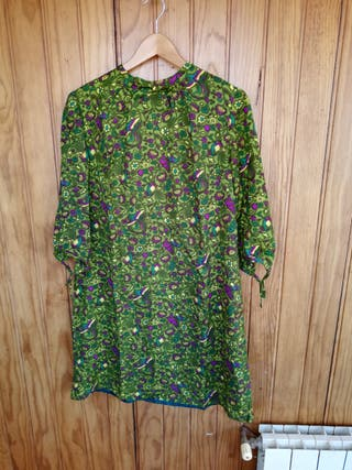 Vestido floral hippie años 60 mujer