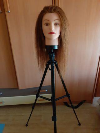 cabeza de maniquí de peluqueria + soporte tripode