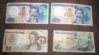 4 billetes de escudos antiguos de Portugal